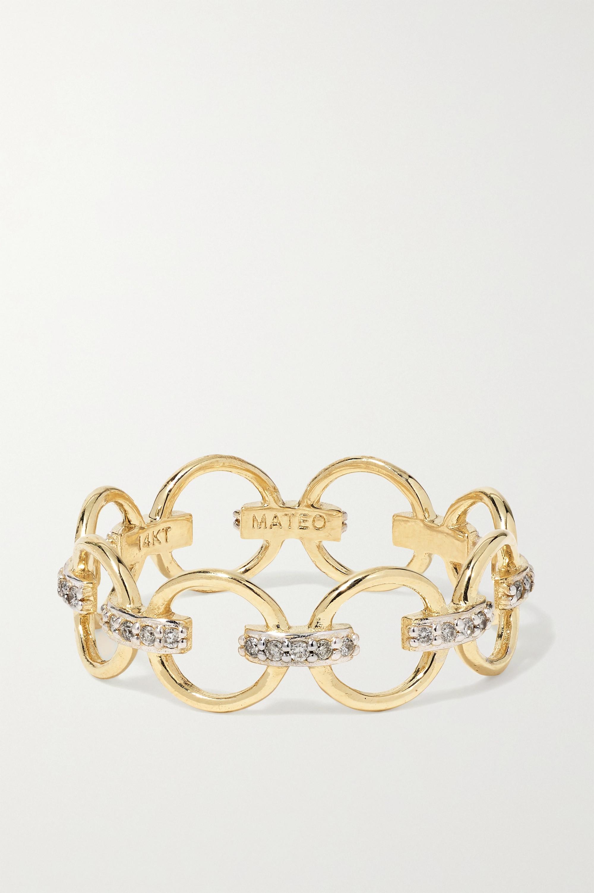 Mateo 14K 黄金钻石戒指