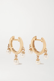 Mateo 14-karat gold pearl hoop earrings