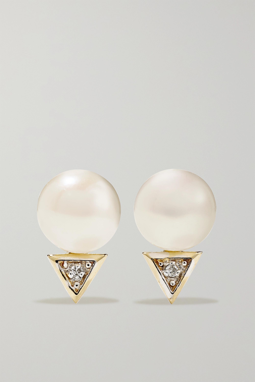 Mateo 14-karat gold pearl and diamond earrings