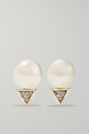 Mateo 14-karat gold pearl and diamond earrings