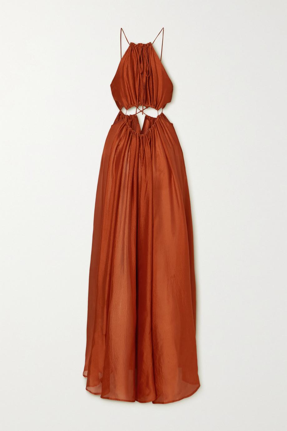 Cult Gaia Thera cutout gathered silk crepe de chine maxi dress