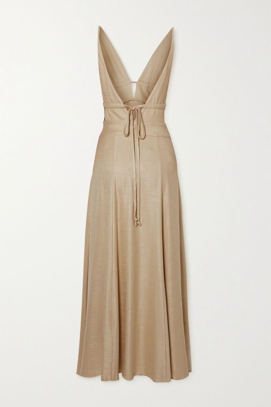Cult Gaia Margot tie-front stretch-voile midi dress