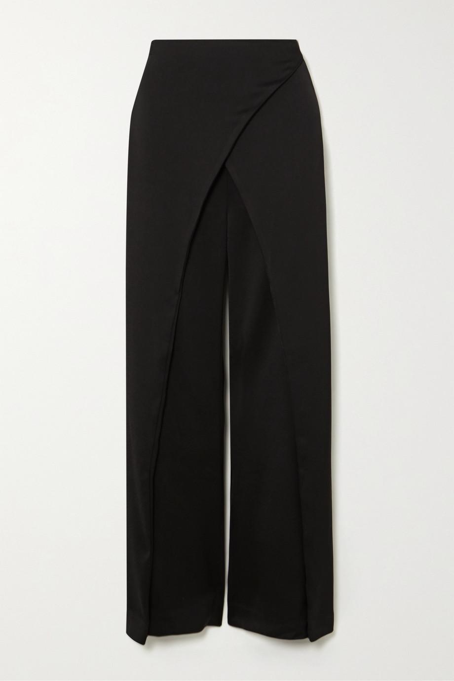 Cult Gaia Claudette wrap-effect satin wide-leg pants