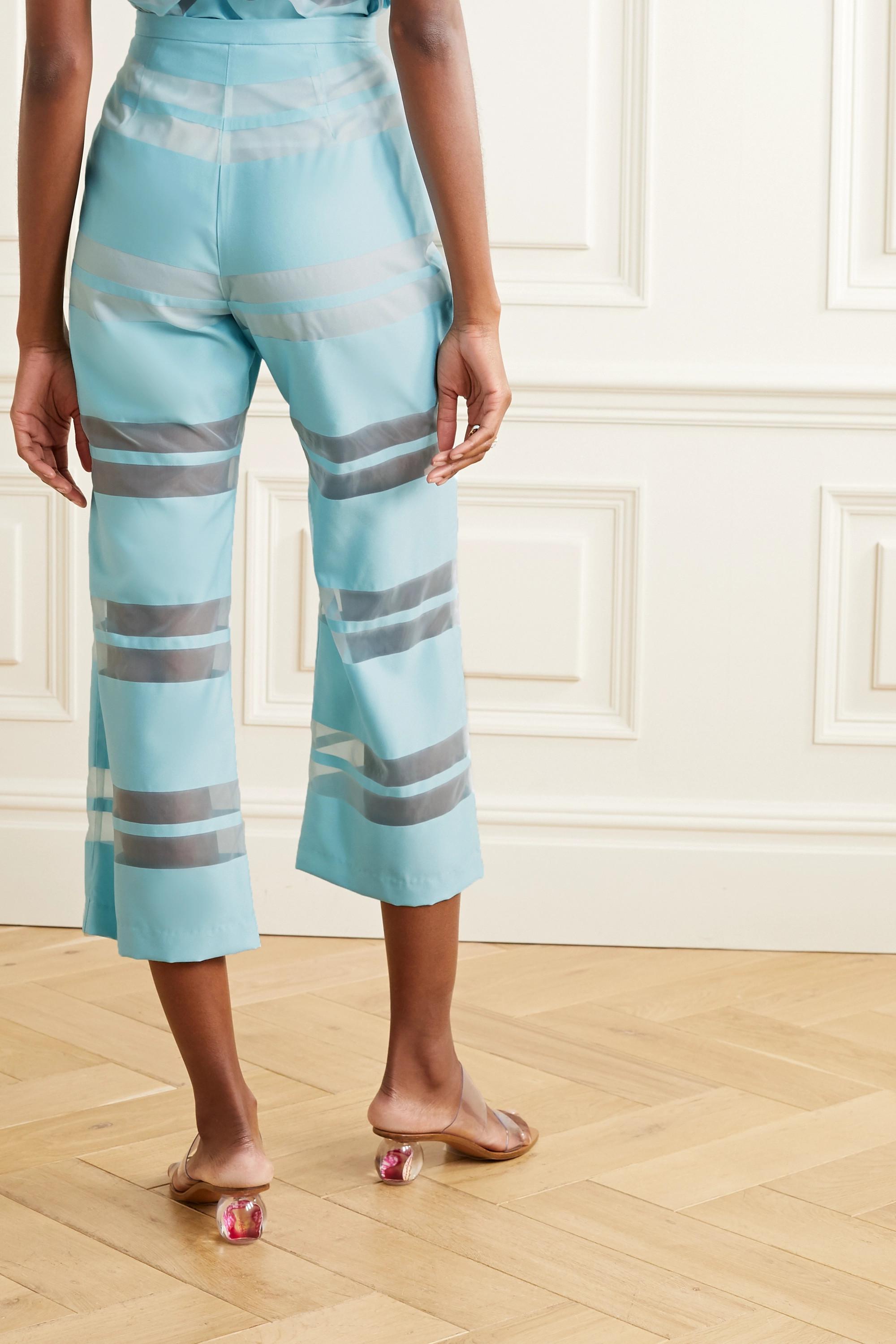 Cult Gaia Vivien striped satin-jacquard flared pants