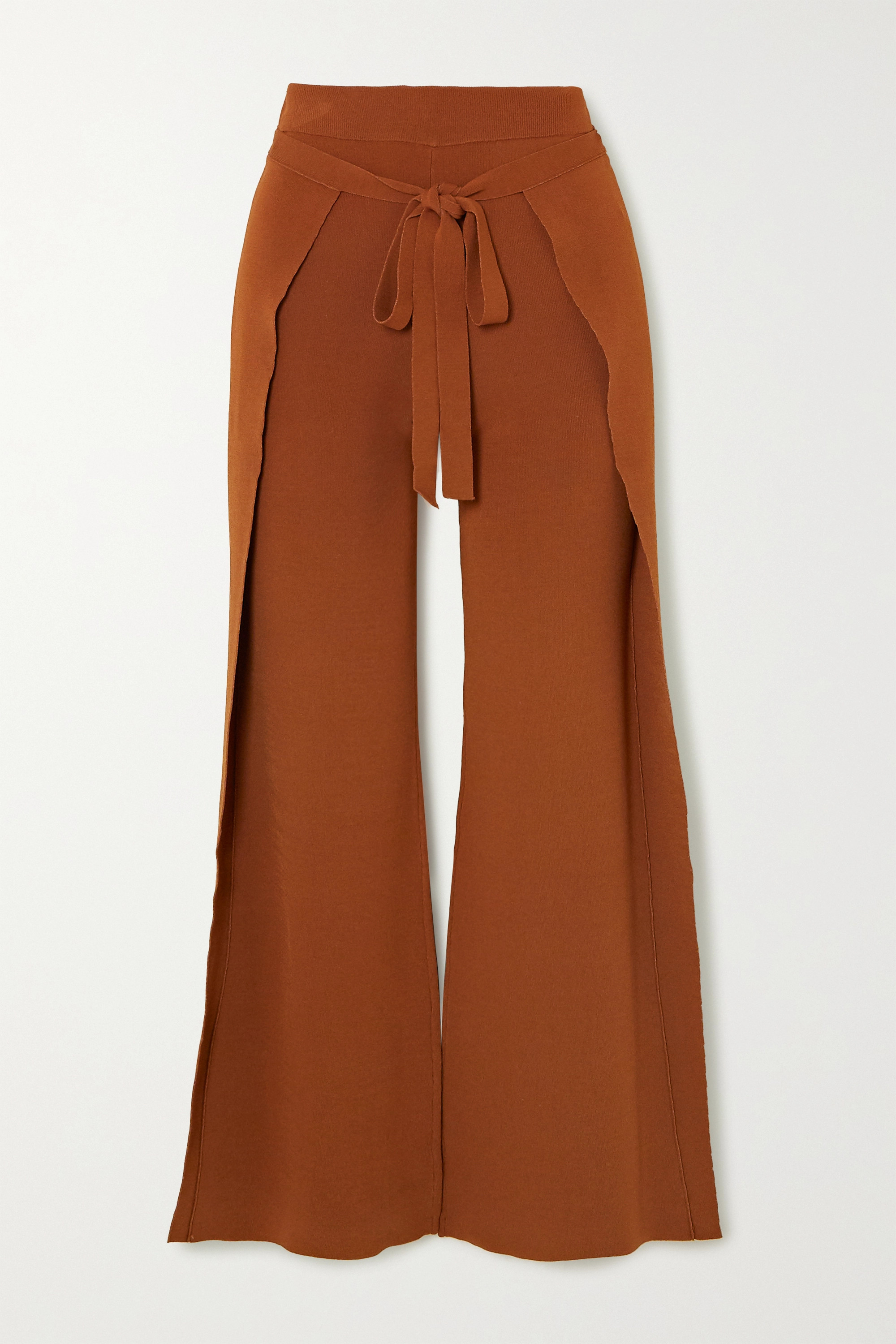 Cult Gaia Abigail tie-front layered knitted straight-leg pants