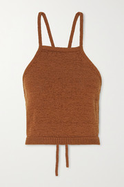 Lala cotton-blend halterneck top