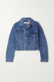 The Twin Cropped Vintage Match distressed denim jacket