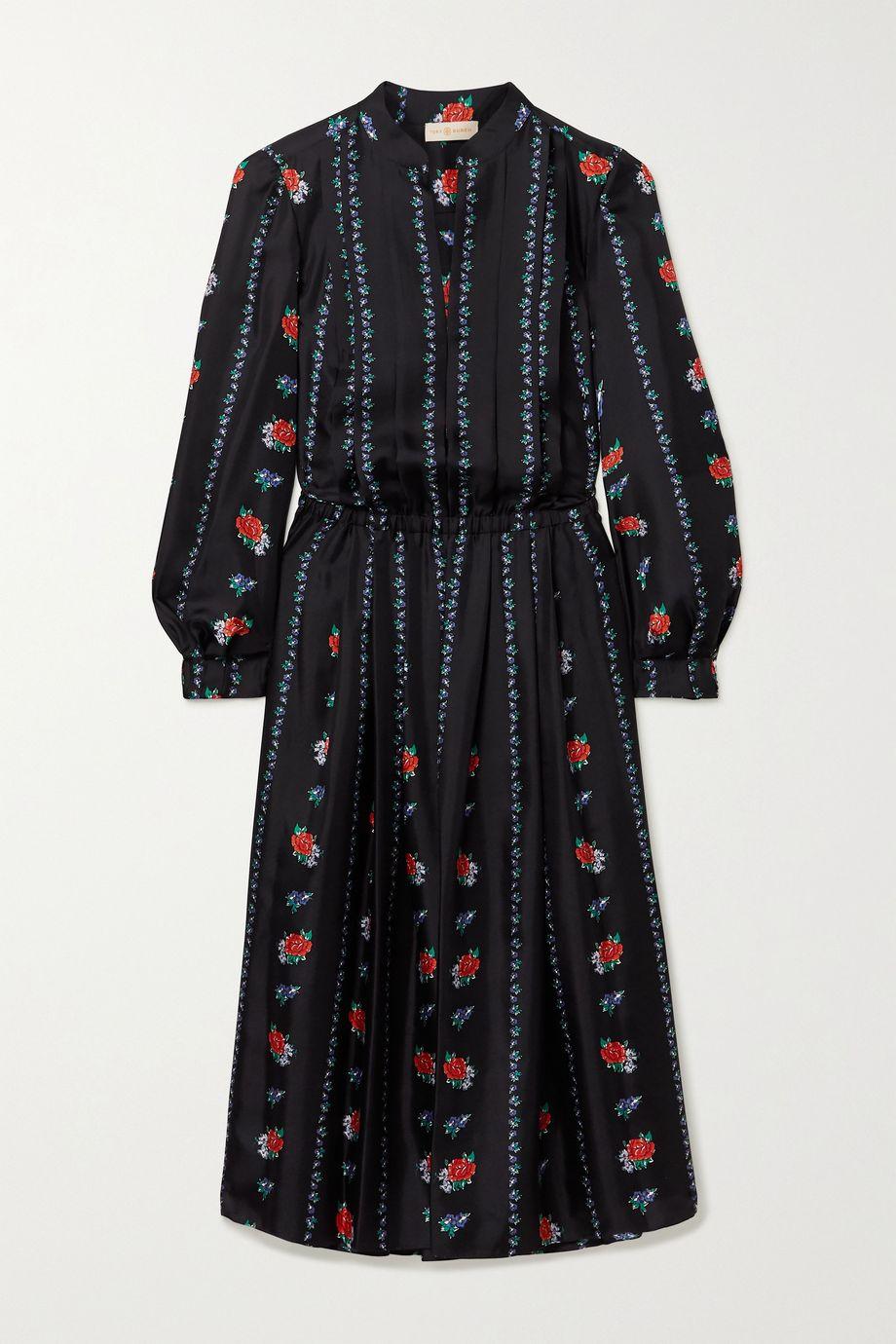Tory Burch Pleated floral-print silk-satin twill midi dress
