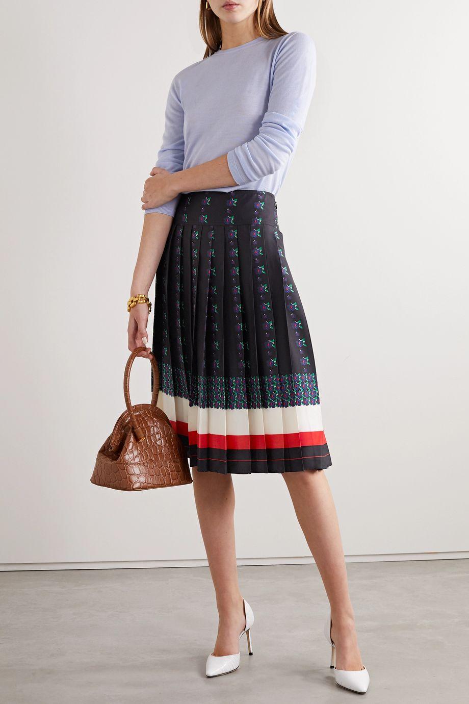 Tory Burch Carmine pleated printed silk-satin twill skirt