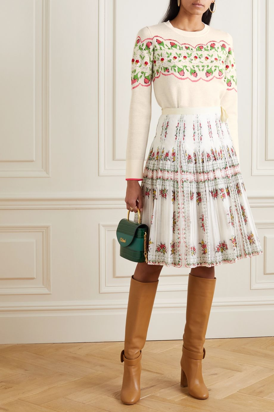 Tory Burch Embellished embroidered Fair Isle wool-blend sweater