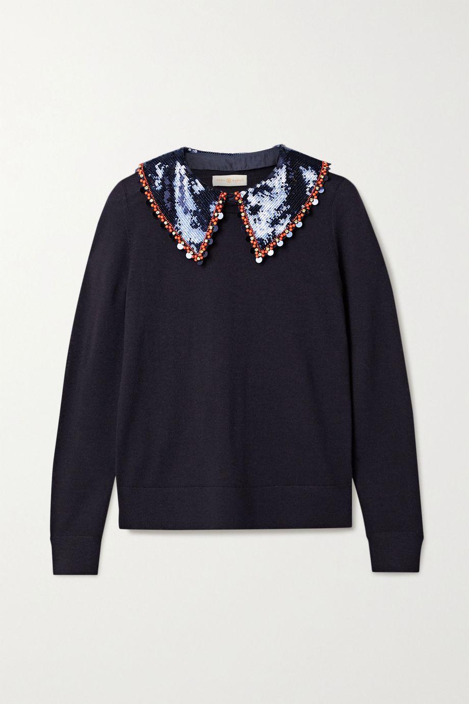 Tory Burch Convertible embellished merino wool sweater