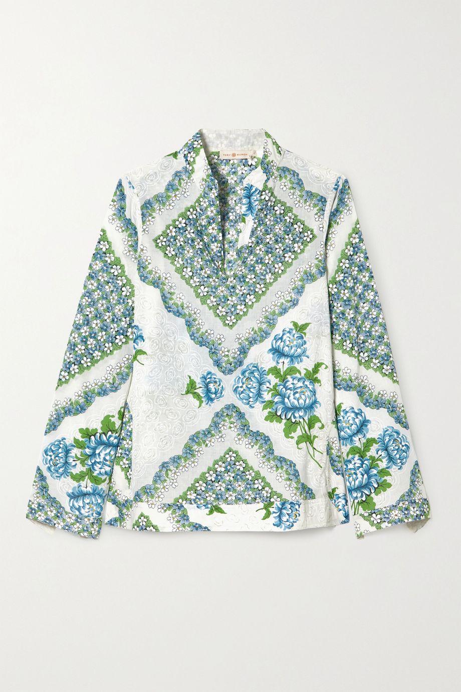 Tory Burch Floral-print cotton-voile blouse