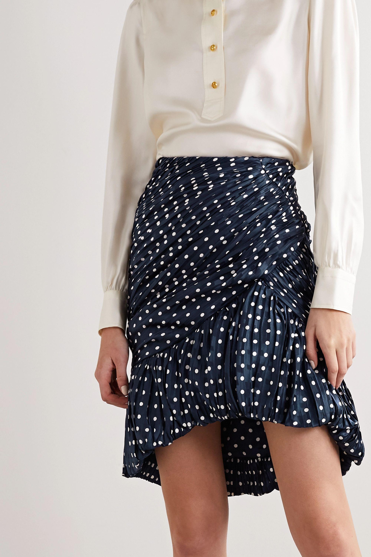 Tory Burch Pleated polka-dot silk-satin jacquard mini skirt