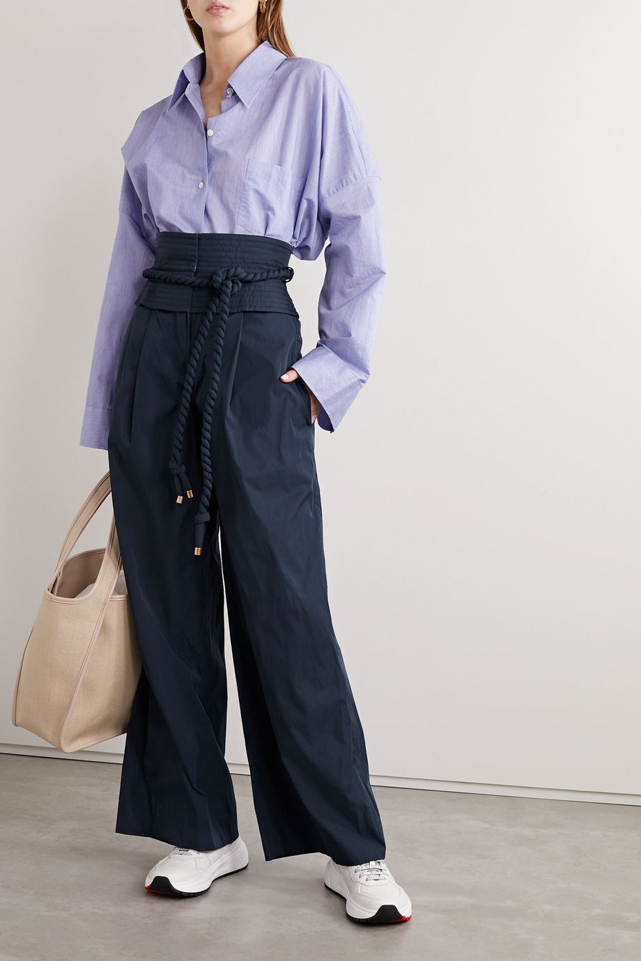 Tory Burch Belted shell wide-leg pants