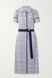 Jason Wu Belted printed crepe midi shirt dress