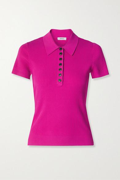 Jason Wu - Ribbed-knit Polo Shirt - Magenta