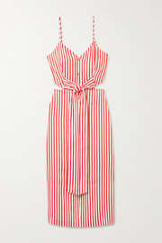 Jason Wu Tie-front cutout striped jacquard midi dress