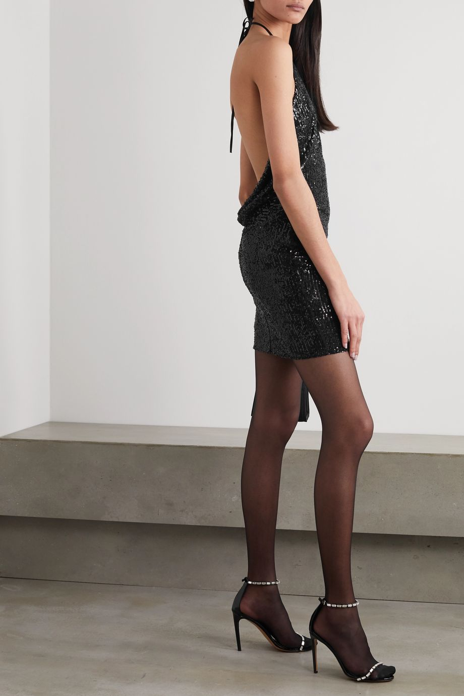 In The Mood For Love Dasha sequined tulle halterneck mini dress