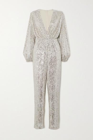 In The Mood For Love - Björk Sequined Tulle Jumpsuit - Silver