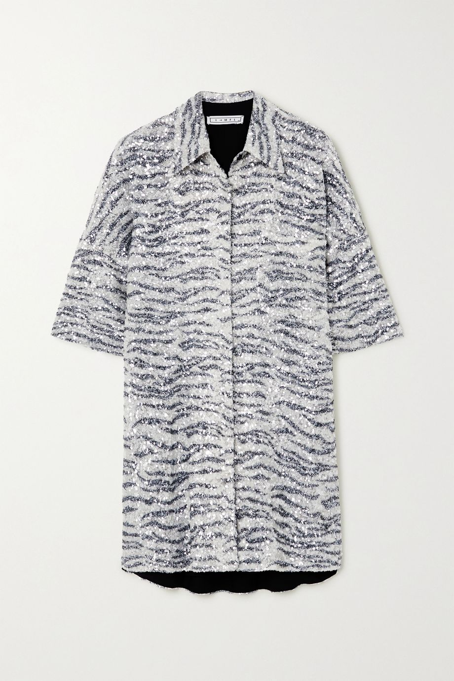In The Mood For Love Zebra-print sequined tulle mini shirt dress