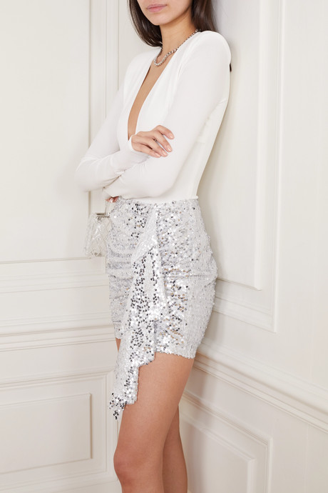 Emely ruched sequined chiffon mini skirt