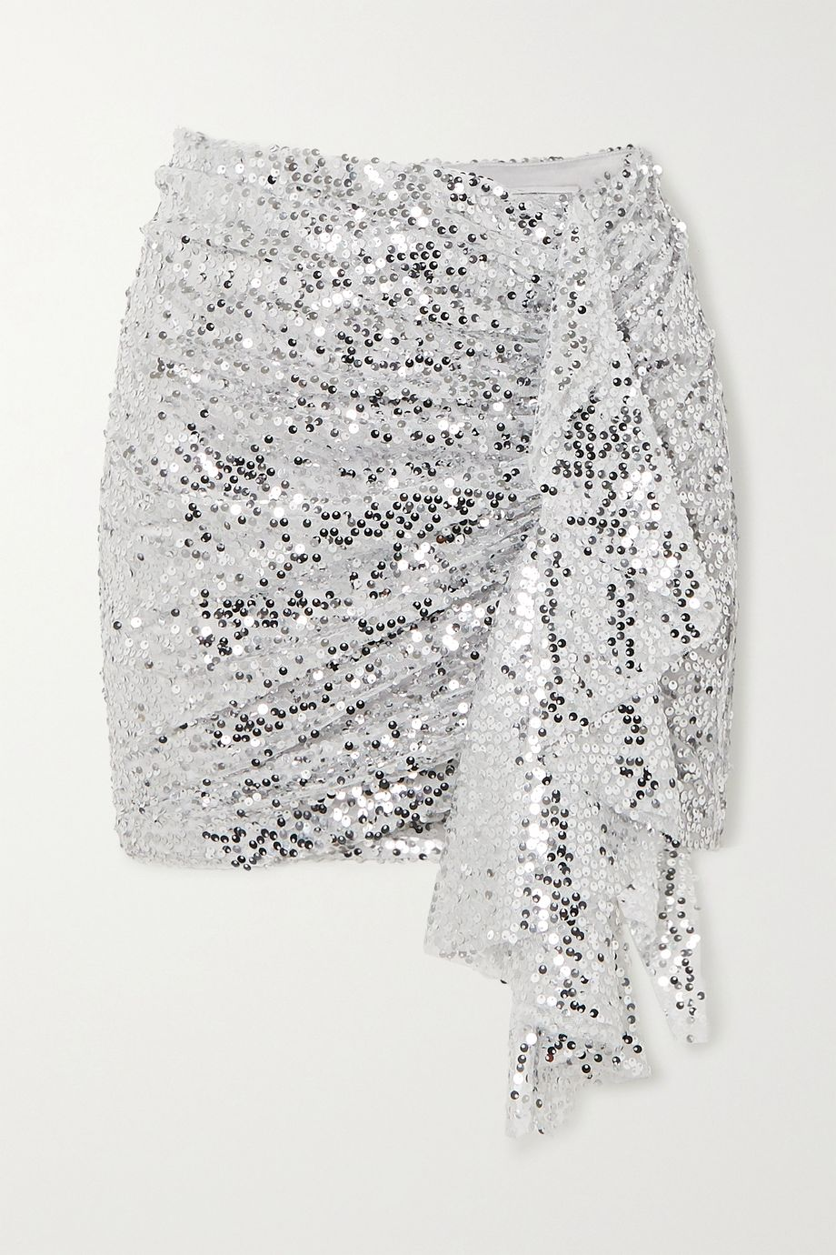 In The Mood For Love Emely ruched sequined chiffon mini skirt