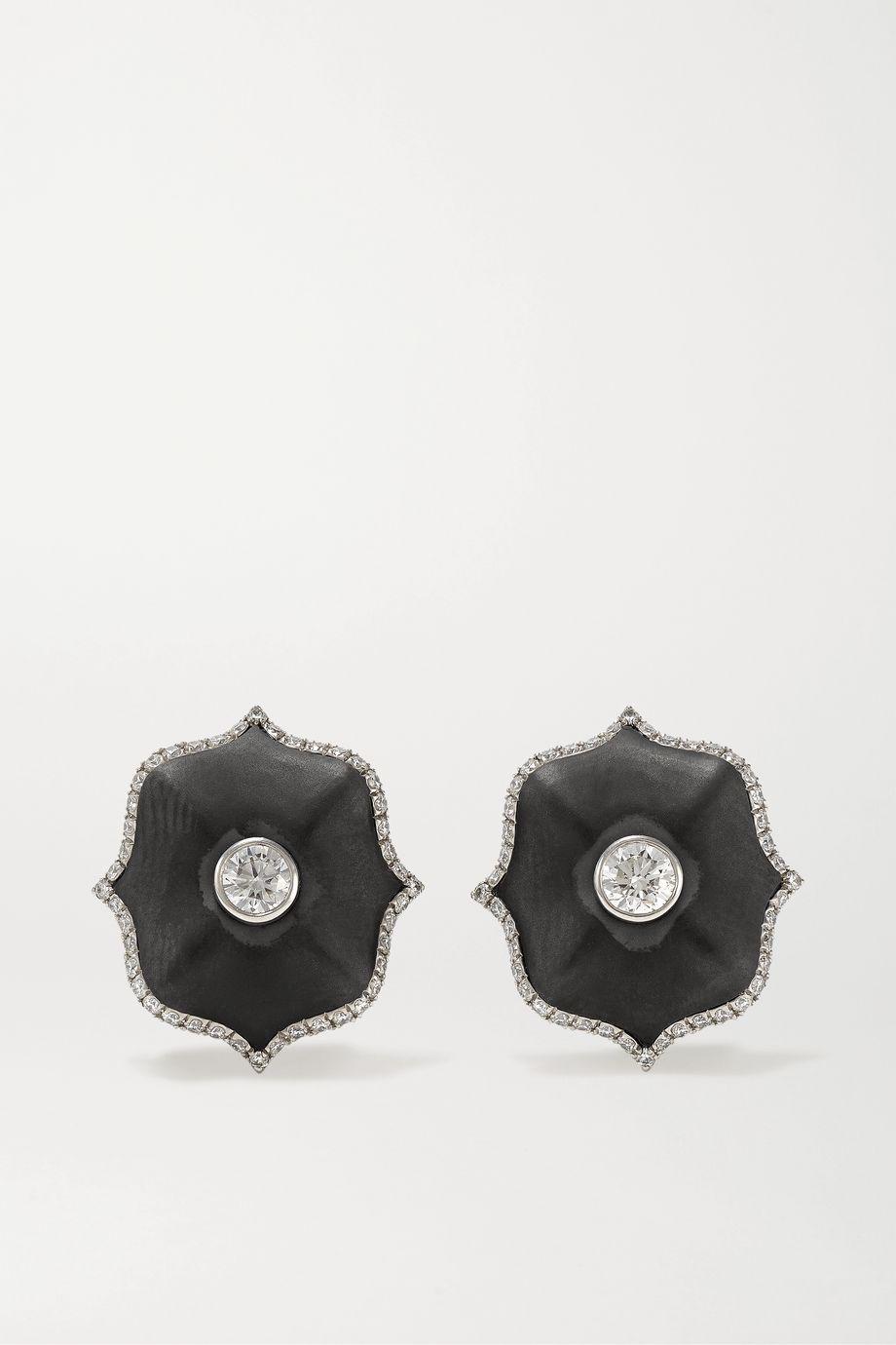 Bayco Platinum, ceramic and diamond earrings