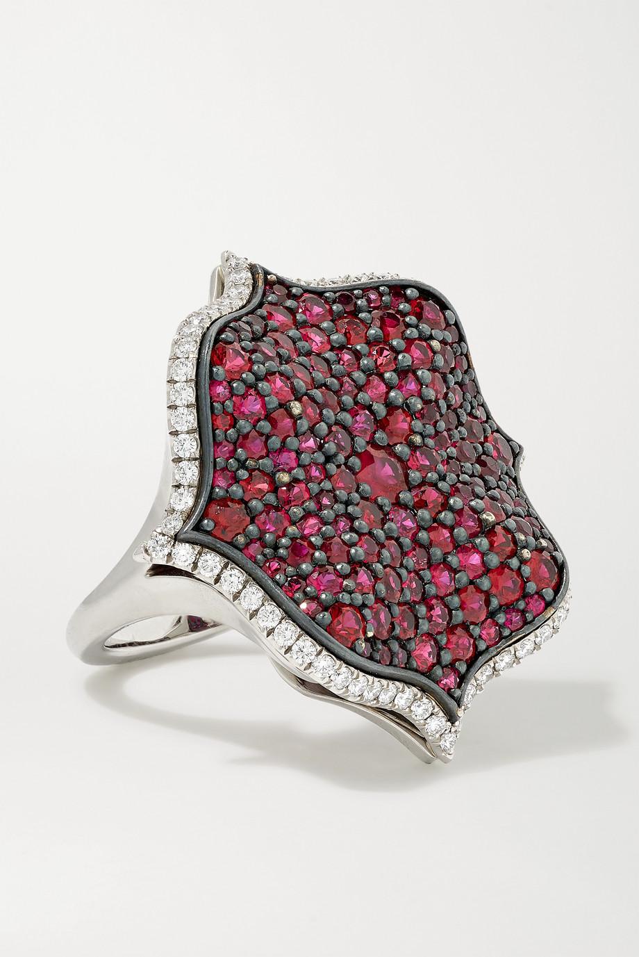 Bayco Ring aus Platin mit Rubinen und Diamanten