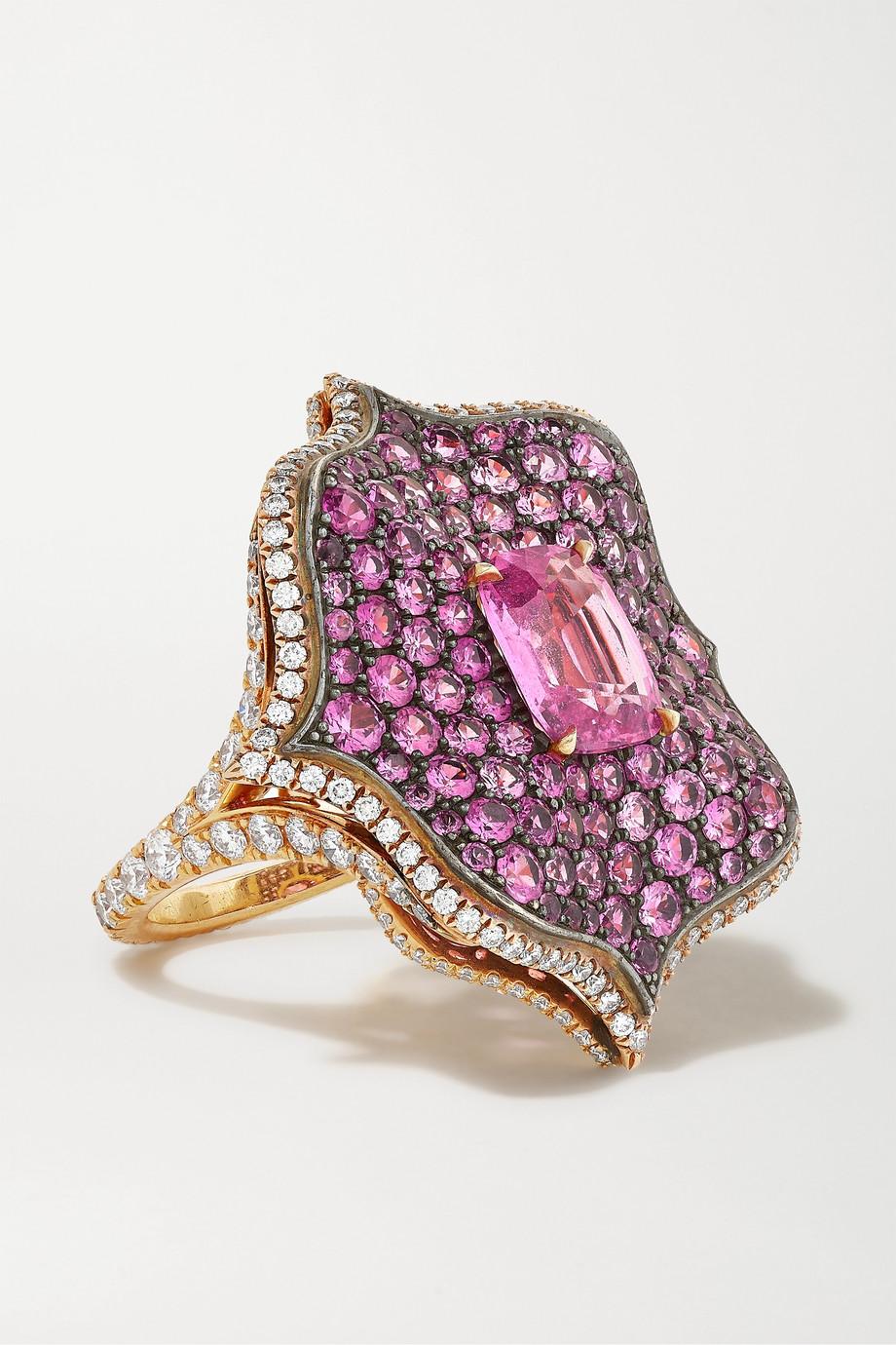 Bayco Ring aus 18 Karat Roségold und Sterlingsilber mit Saphiren und Diamanten