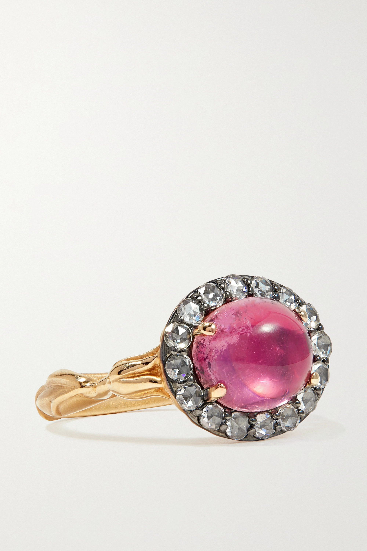 Larkspur & Hawk Posy 14-karat gold, tourmaline and diamond ring