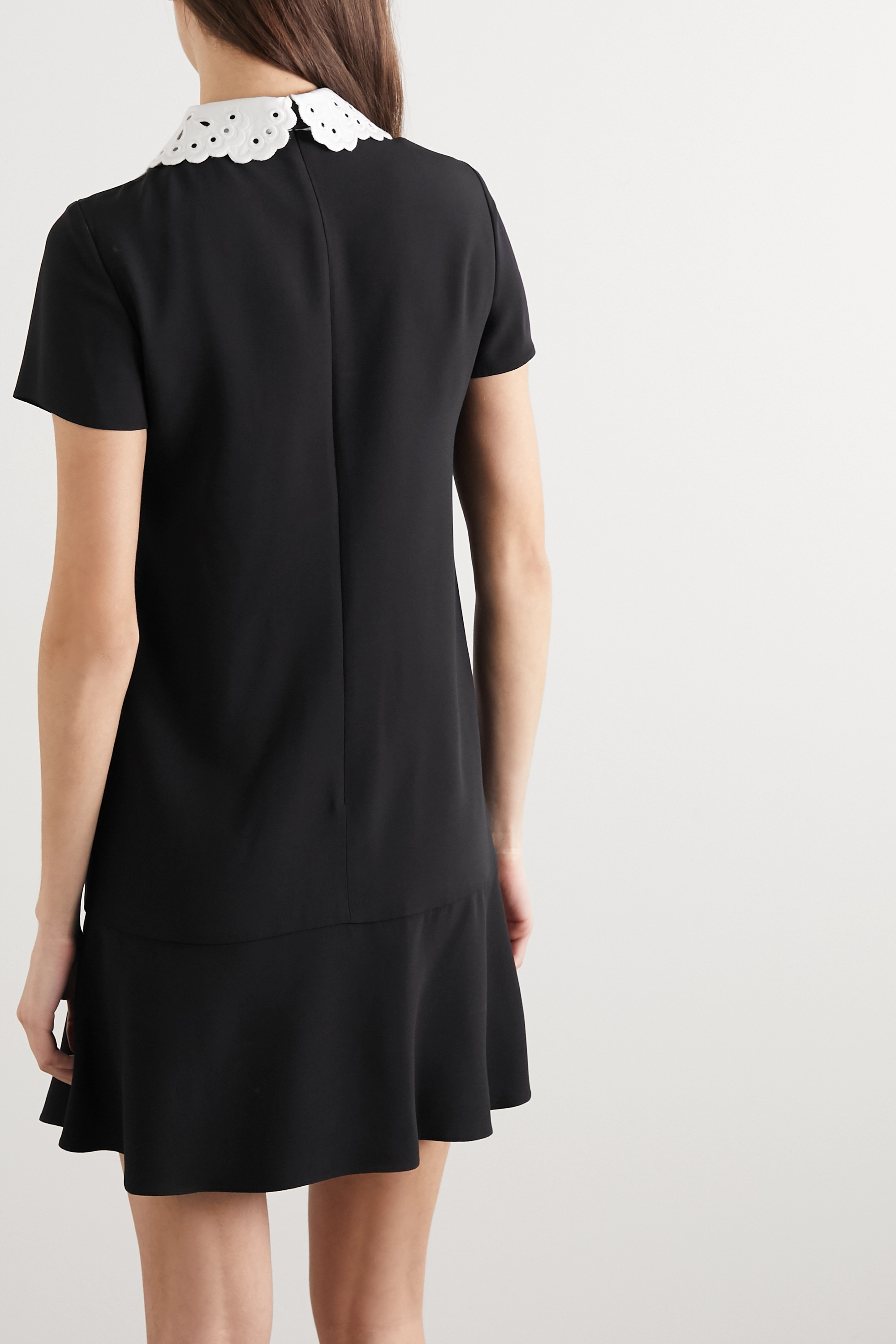 REDValentino Broderie anglaise-trimmed crepe mini dress