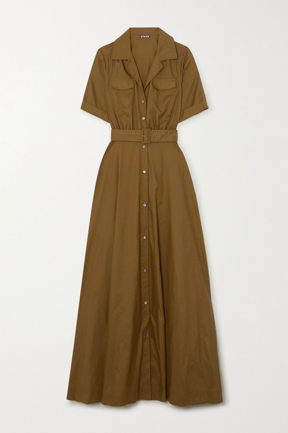 STAUD Millie belted shell maxi shirt dress