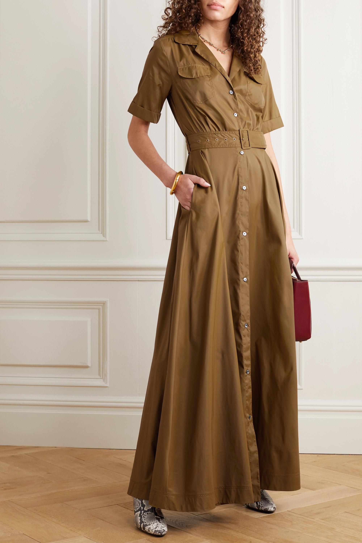 STAUD Millie belted shell maxi shirt dress