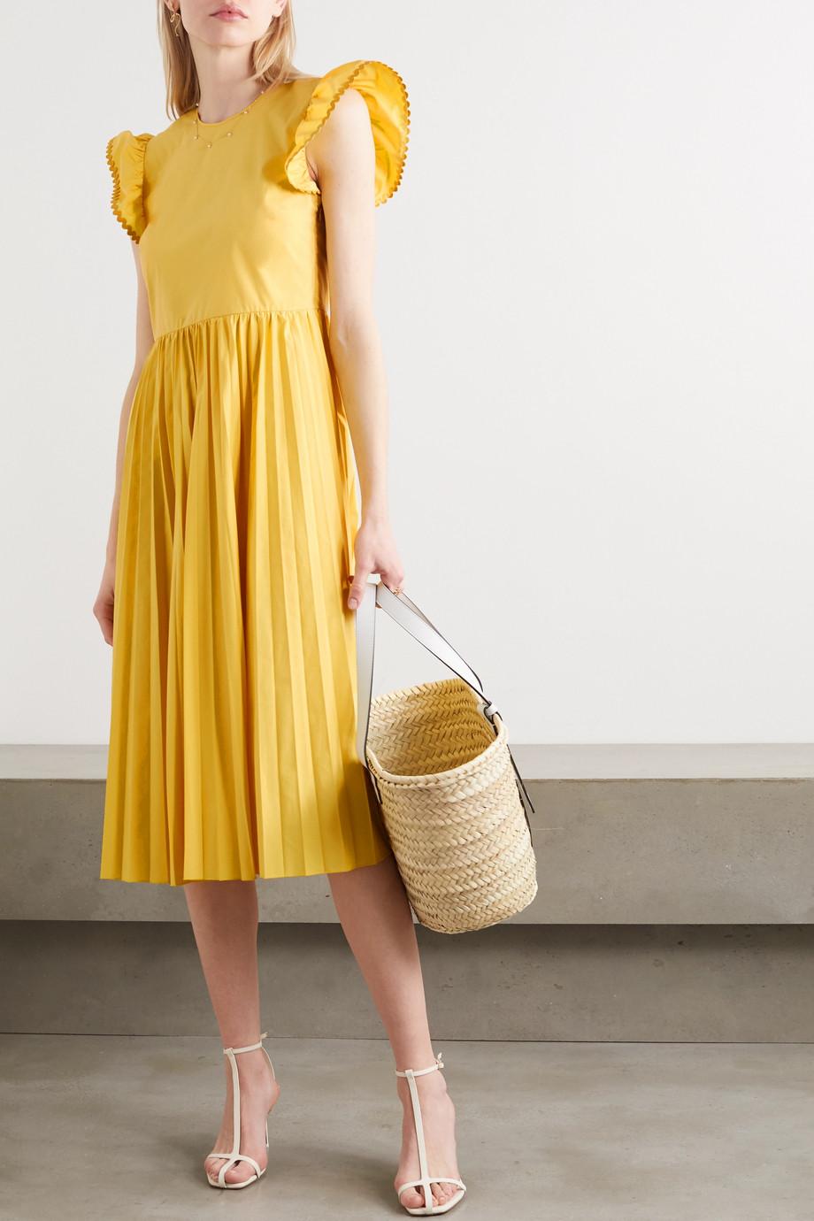 REDValentino Open-back pleated cotton-blend poplin midi dress