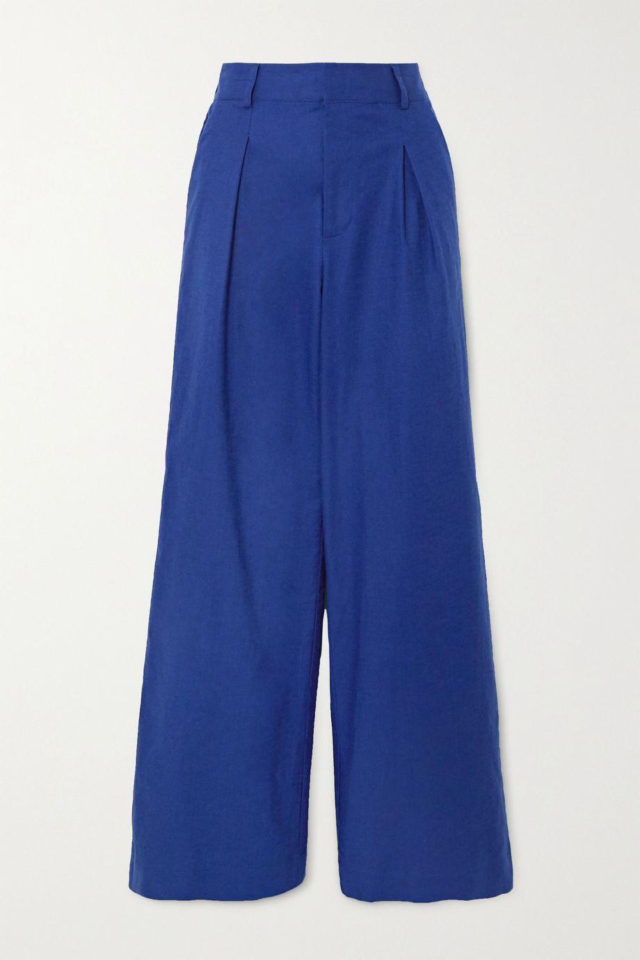 STAUD Bruco pleated linen-blend wide-leg pants