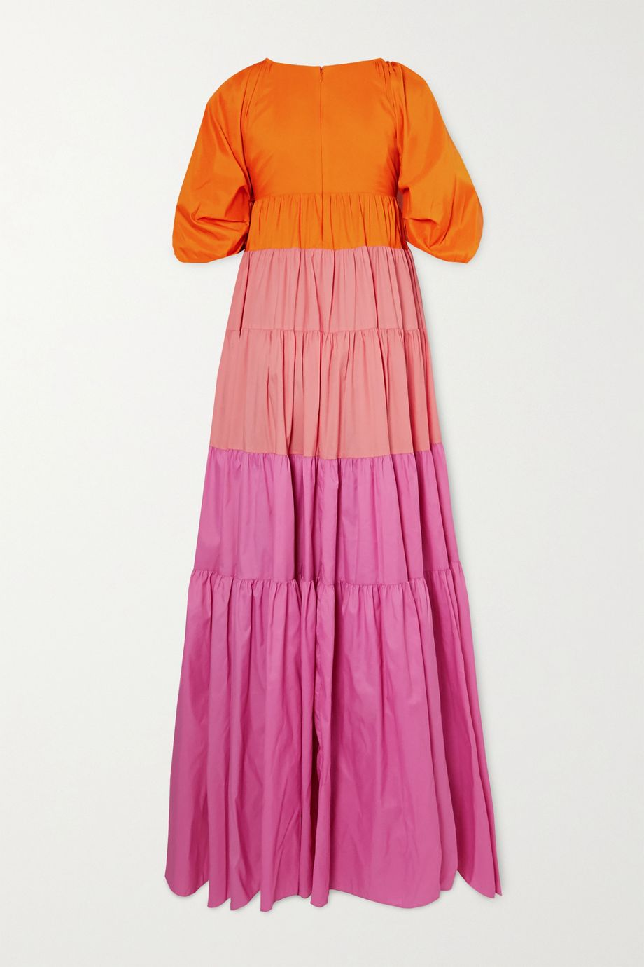 STAUD Meadow tiered color-block crepe maxi dress