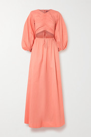 STAUD Tangier ruched cutout crepe maxi dress