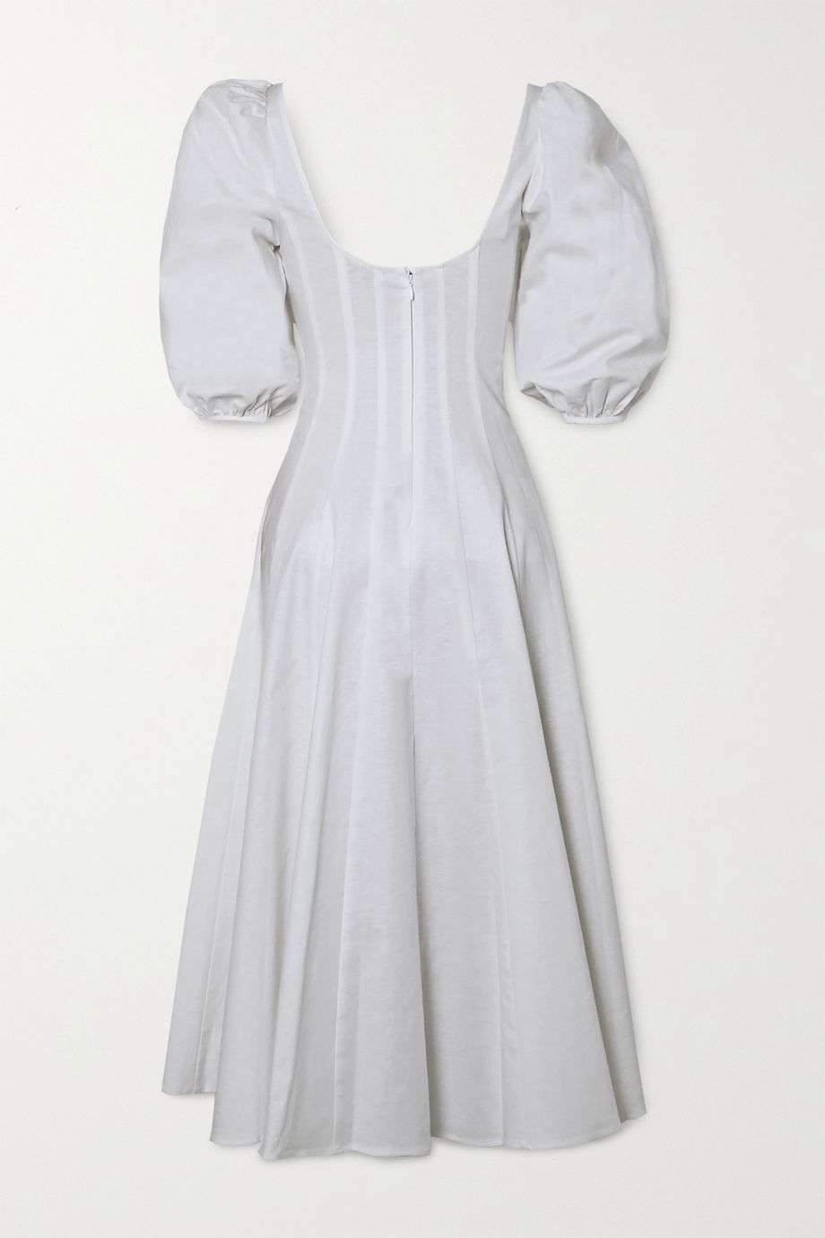 STAUD Wells linen-blend midi dress