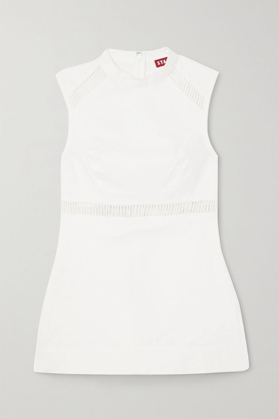 STAUD Atlas cutout linen-blend top