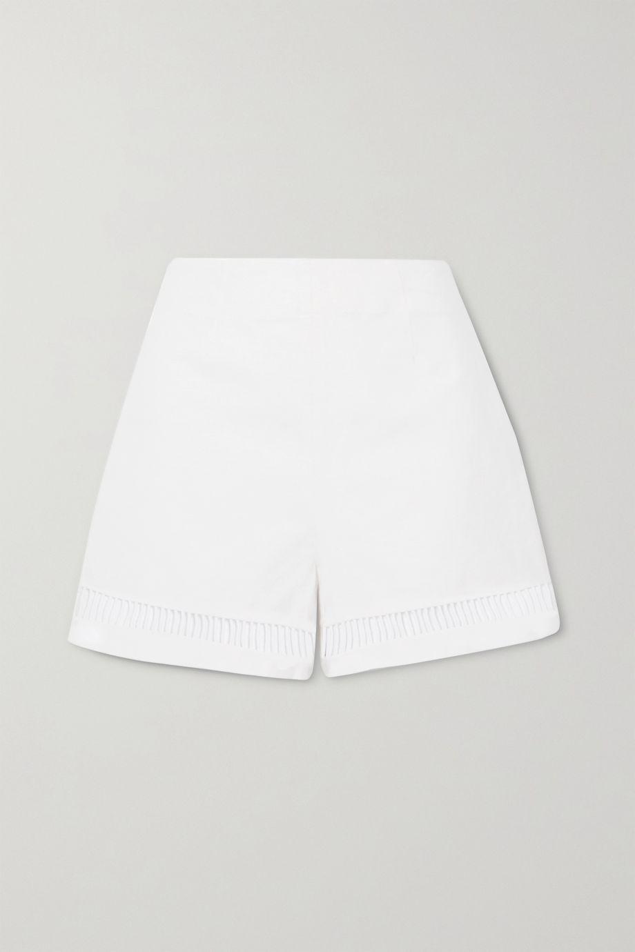 STAUD Moth cutout linen-blend shorts