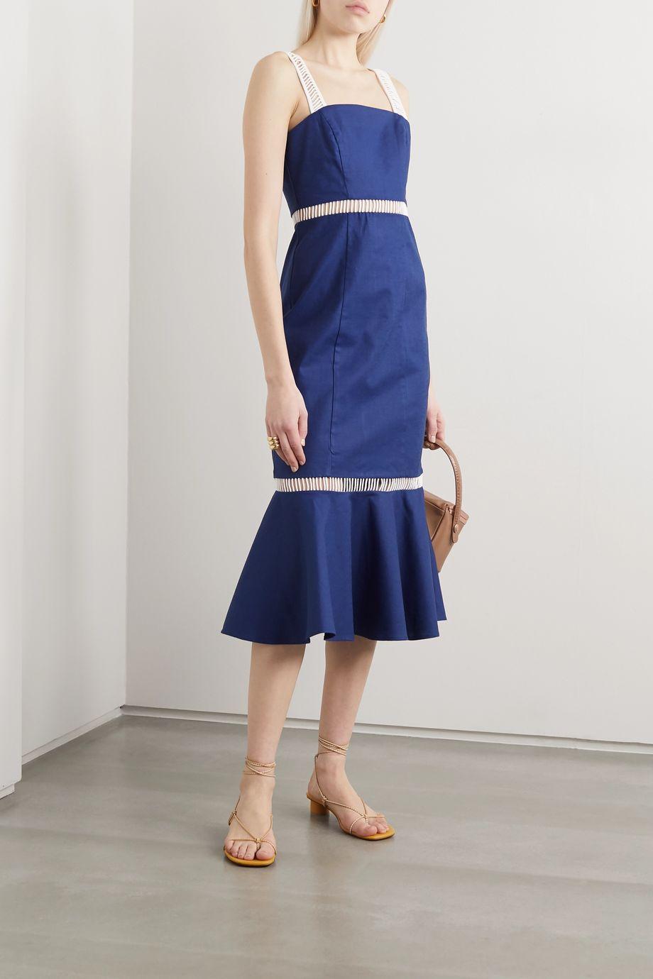 STAUD Lychee crochet-paneled linen-blend midi dress