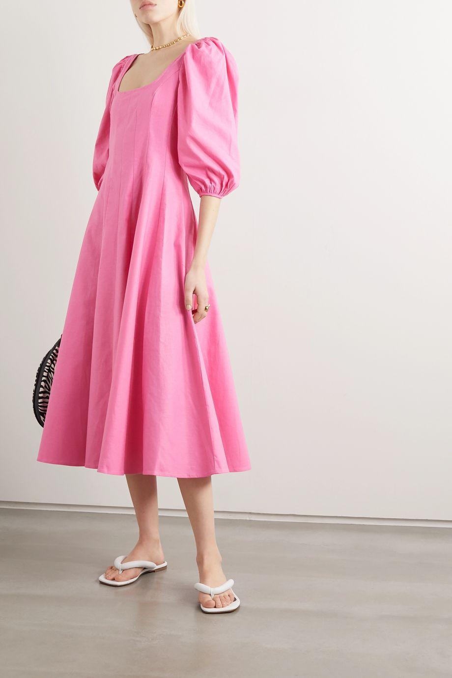 STAUD Swells pleated linen-blend midi dress