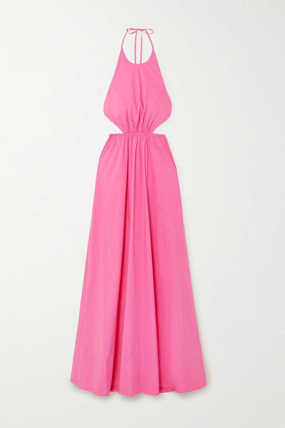 STAUD Apfel cutout cotton-blend poplin halterneck maxi dress