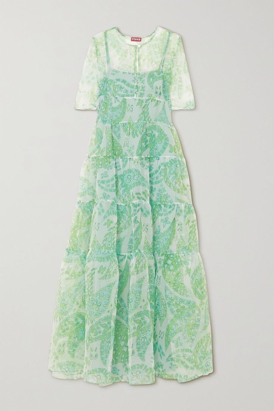 STAUD Cocoon tiered paisley-print organza maxi dress