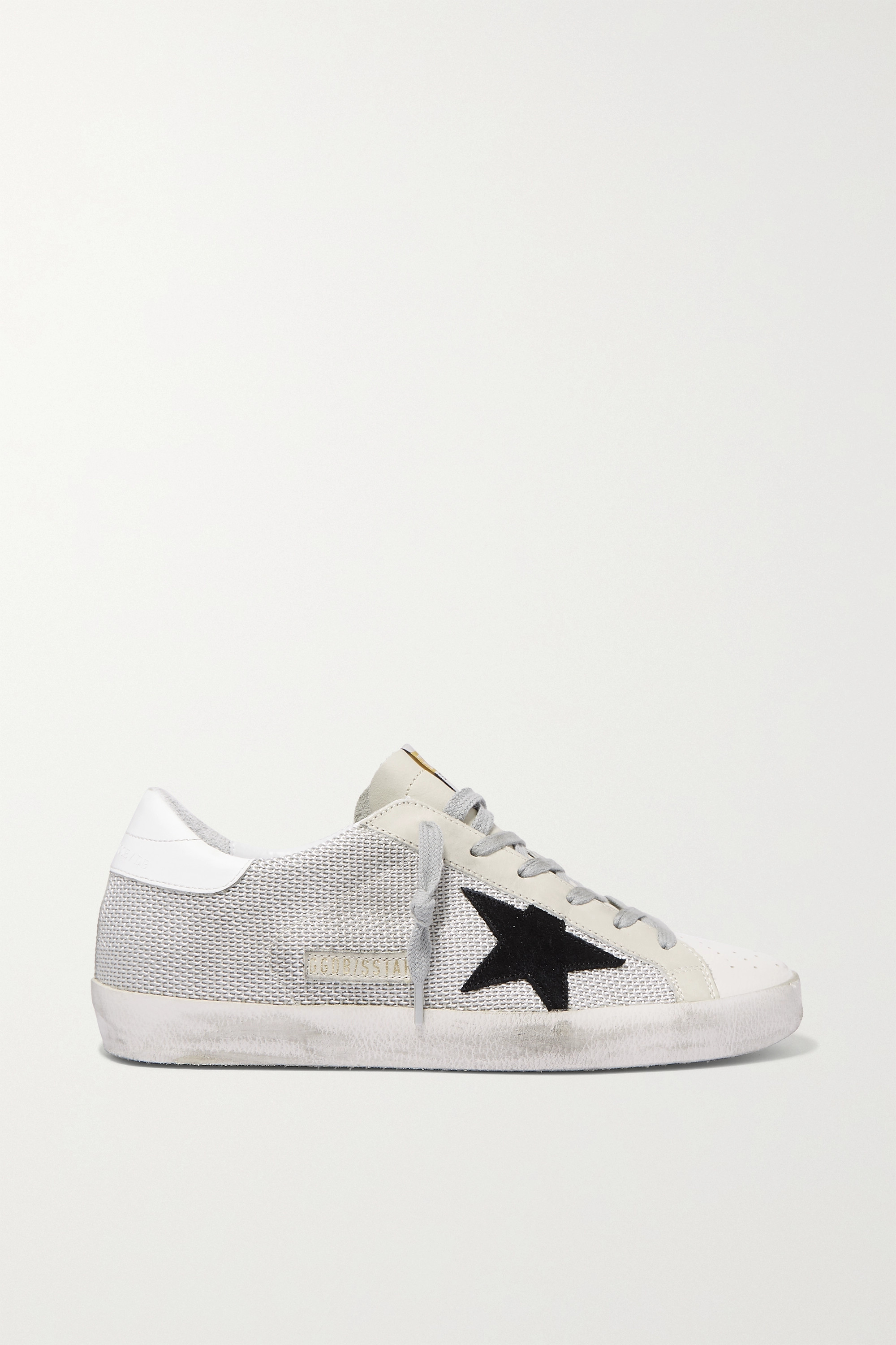 mesh and distressed leather sneakers