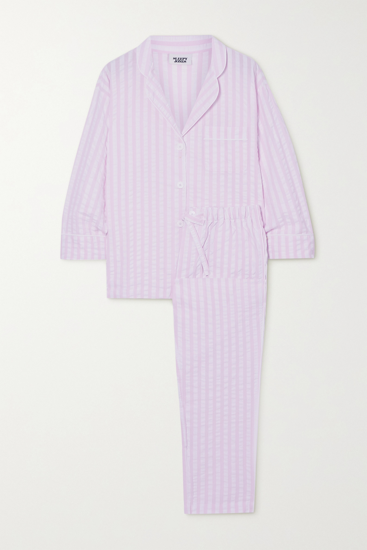 Sleepy Jones Marina striped cotton-seersucker pajama set