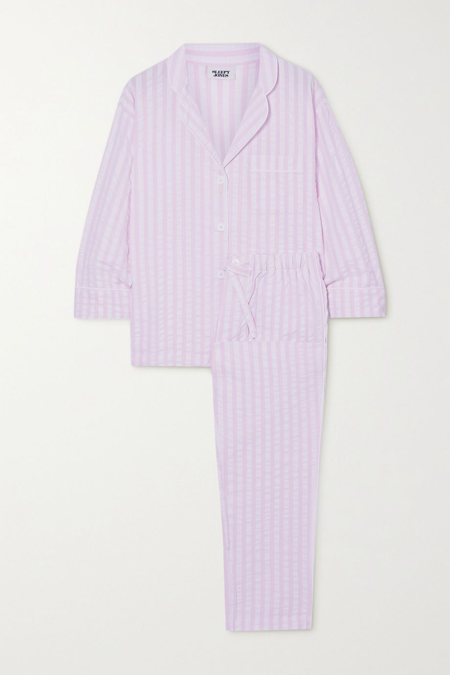 Sleepy Jones Marina striped cotton-seersucker pajama set