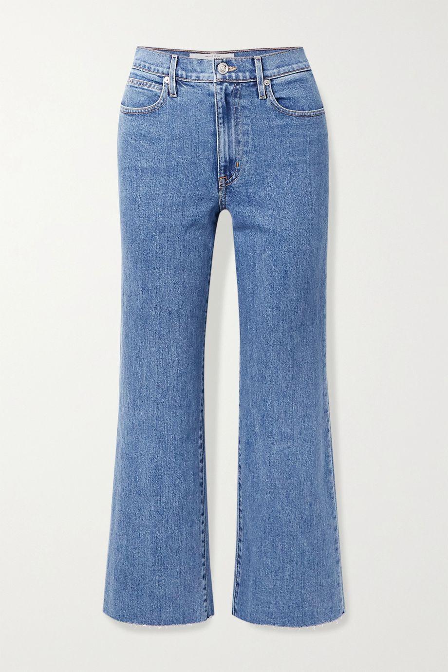 SLVRLAKE Grace cropped frayed high-rise wide-leg jeans