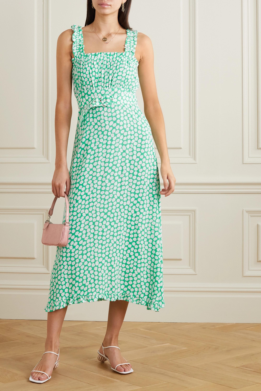 Faithfull The Brand Saint Tropez belted ruffled floral-print crepe midi dress