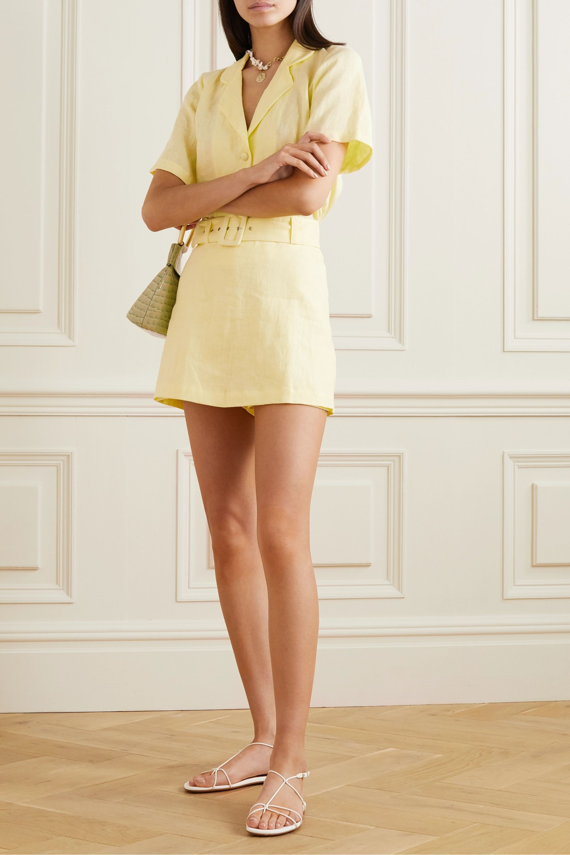Faithfull The Brand Celia belted layered linen shorts